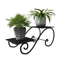 2 tiers flower pot iron metal shelves