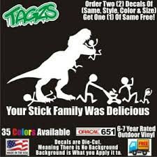T Rex Dinosaur Stick Family Funny Diecut Vinyl Window Decal Sticker Car Truck Ebay