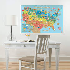 Wall Pops Wpe0623 Kids Usa Dry Erase Map Decal Wall Decals Decorative Wall Appliques Amazon Com