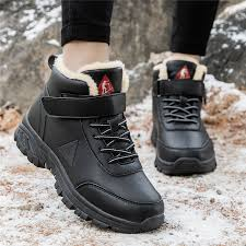 black leather boots women winter shoes