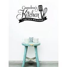 Home Decor Grandma S Kitchen Tasters Welcome Vinyl Family Kitchen Wall Stickers Decals 23x13 Inch Black Walmart Com Walmart Com