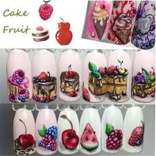 18 Patterns Set Girl Fruit Cake Ice Cream Watermark Nail Sticker Creative Cute Diy Nail Beauty Buy At A Low Prices On Joom E Commerce Platform