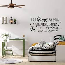 Amazon Com In Dreams We Enter A World Albus Dumbledore Quotes Wall Decals Harry Potter Decor Harry Potter Wall Decal Nursery Wall Decals Sayings Home Kitchen