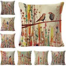 cushion covers bird print linen