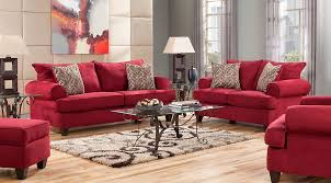 red living room sets fabric