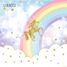 Laeacco يونيكورن الخلفيات قوس قزح بريق نجمة الذهبي سحابة عيد ميلاد