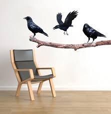 Crows On A Branch Wall Sticker Decal Raven Art Black Birds Decor Tree American Wall Designs
