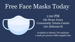 """City of Bristol, TN on Twitter: """"Free face masks will be available today  for Bristol, TN residents while supplies last. 1:00 PM at Ida Stone Jones  Community Tennis Center. @GovBillLee @TNDeptofHealth @SullivanHealth…"""
