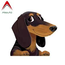 Aliauto Cartoon Animal Dachshund Car Sticker Pet Dog Vinyl Decal Waterproof Automobile Motorcycles Accessories 13cm 12cm Car Stickers Aliexpress