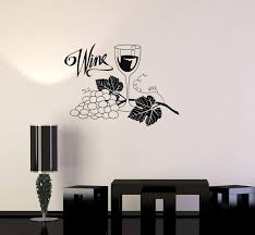 Vinyl Decal Wine Grapes Glass Alcohol Drink Bar Kitchen Wall Stickers Wallstickers4you