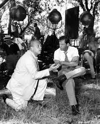 """Joshua Logan directs William Holden on the """"Picnic"""" location in ..."""