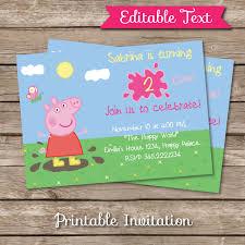 Peppa Pig Inspired Printable Invitation Editable Text De