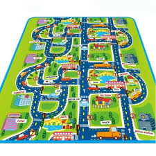 rug kids city roads play car play mat