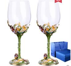 carved flower crystal glass wine cup