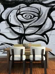 Black And White Graffiti Rose Wall Mural Majestic Wall Art