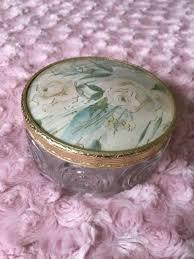 vintage glass trinket box for in