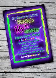 black light birthday party invitations