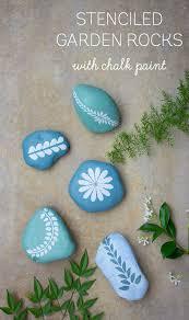 chalk paint stenciled garden rocks