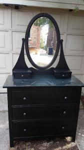 black ikea hemnes dresser with mirror