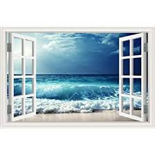 Amazon Com Greathomeart 3d Vinyl Wall Decals Beach Sea Wave Window Frame Style Wall Decor Art Removable Seascape Stickers Mural Poster For Living Room 32 X48 Home Kitchen