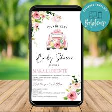 Pink Floral Drive By Baby Shower Invitacion Electronica Descarga
