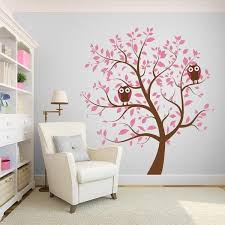 Pink Nursery Tree With Owls Wall Decal Wall Decal World Pink Walls Girls Room Children Room Girl Pink Nursery