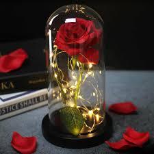وردة حمراء بالجمال والوحش Led في قارورة زجاجية ورود أبدية لهدايا