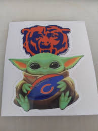 Chicago Bears Baby Yoda Die Cut Vinyl Decal Sticker Car Truck Window Laptop Cellphone Yeti On Storenvy