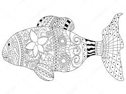 Fish Coloring Book Vector For Adults Stock Vector
