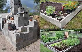 raised garden bed out of cinder blocks
