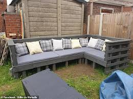 outdoor sofa with old pallets of wood