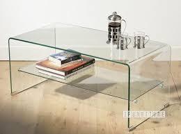 murano bent glass coffee table with shelf