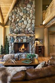 river rock fireplace log mantle log