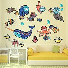Amazon Com Wallmonkeys Tribal Narwhal Underwater Sea Life Wall Decal Sticker Set For Kids Wm502446 Furniture Decor