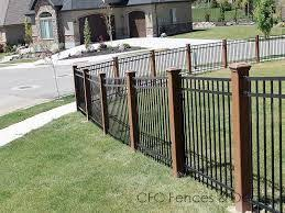 Image Result For Wood Posts Metal Fence Iron Fence Fenced In Yard Backyard Fences
