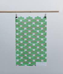 Tea Towel - Ida - Green / Pink | Laura Spring
