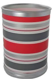11 5 Bathroom Kids Room Retro Coral Striped Waste Basket Trash Can Garbage Bin For Sale Online