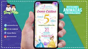 Tarjeta De Invitacion Digital Animada De Las Princesas De Disney Somosmotta Mottainvitacion Youtube