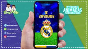 Tarjeta De Invitacion Digital Animada De Futbol Equipo Real Madrid