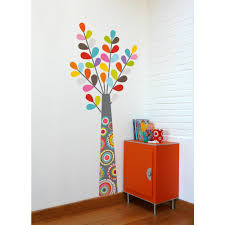 Adzif 27 In X 65 In Multi Color Colourful Tree Kids Wall Decal L6013 Ajv5 The Home Depot