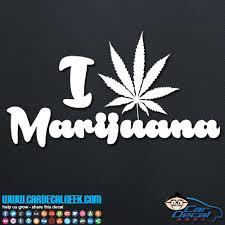 I Love Marijuana Leaf Decal Vinyl Car Decal Sticker Graphic