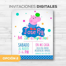 Tarjetas Invitacion Peppa Pig Y George Whatsapp Digitales Bs