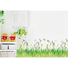Amazon Com Pastoral Style Grass And Butterflies Wall Decals Living Room Bedroom Baseboard Removable Wall Stickers Home Kitchen