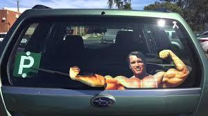 Flexing Arnold Rear Window Wiper Decal Dudeiwantthat Com