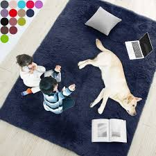 Amazon Com Navy Blue Soft Rug For Bedroom 5 X7 Fluffy Area Rug For Living Room Furry Carpet For Kids Room Shaggy Throw Rug For Nursery Room Fuzzy Plush Rug Indigo Carpet Rectangle Cute