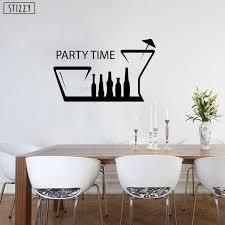 Stizzy Wall Decal Creative Quotes Party Time Bar Vinyl Wall Stickers Alcohol Drink Kitchen Decoration Modern Removable Decorb347 Aliexpress Com Imall Com