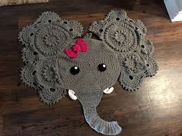 Crocheted Elephant Rug For Kids Room Or Nursery Http Lomets Com