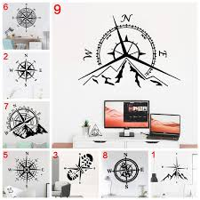 Creative Adventure Mountains And Compass Wall Sticker Home Decor For Living Room Boys Bedroom Kids Rooms Wall Sticker Mural Wish