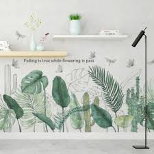 Tropical Plants Green Leaves Living Room Bedroom Decor Vinyl Wall Stickers Decal Ebay