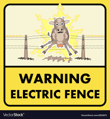 Electric Fence Sign Royalty Free Vector Image Vectorstock